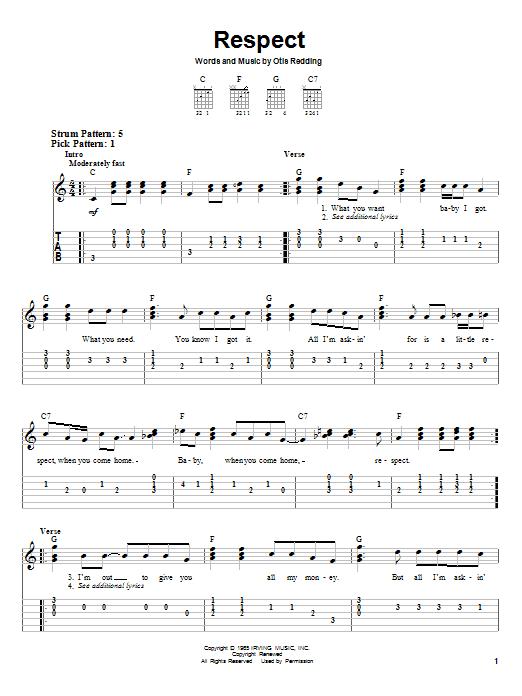 Tablature guitare Respect de Aretha Franklin - Tablature guitare facile