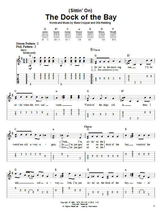 Tablature guitare (Sittin' On) The Dock Of The Bay de Otis Redding - Tablature guitare facile