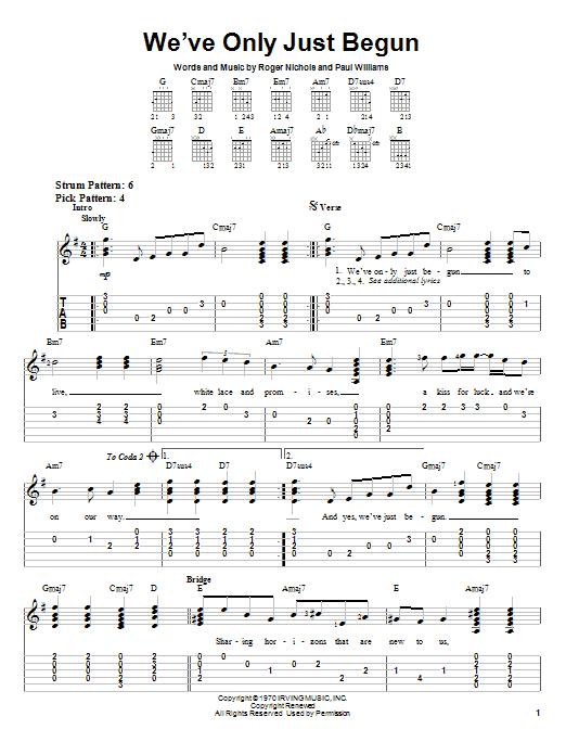 Tablature guitare We've Only Just Begun de Carpenters - Tablature guitare facile