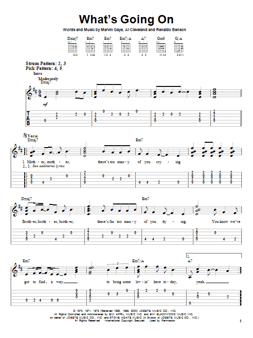 Tablature guitare What's Going On de Marvin Gaye - Tablature guitare facile