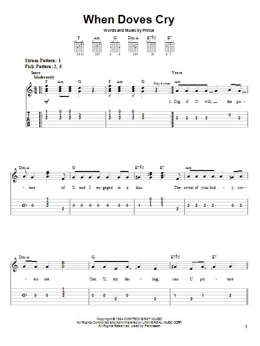 Tablature guitare When Doves Cry de Prince - Tablature guitare facile