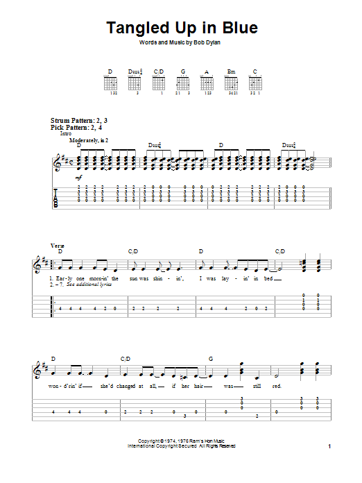 Tablature guitare Tangled Up In Blue de Bob Dylan - Tablature guitare facile