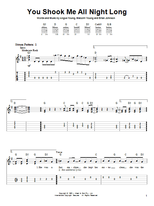 Tablature guitare You Shook Me All Night Long de AC/DC - Tablature guitare facile