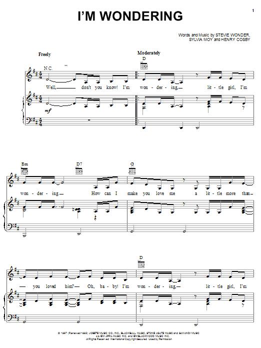 Partition piano I'm Wondering de Stevie Wonder - Piano Voix Guitare (Mélodie Main Droite)