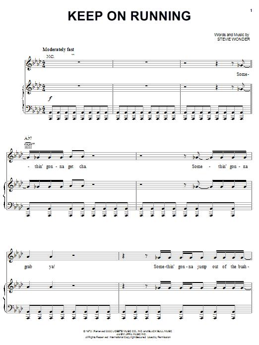 Partition piano Keep On Running de Stevie Wonder - Piano Voix Guitare (Mélodie Main Droite)