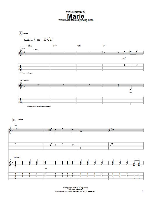 Tablature guitare Marie de Django Reinhardt - Tablature Guitare