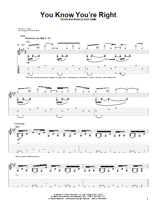 Tablature guitare You Know You're Right de Nirvana - Tablature Guitare