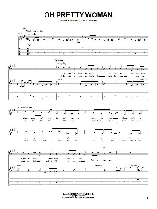 partition guitare pretty woman