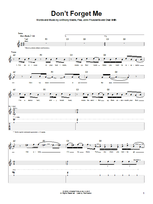 Tablature guitare Don't Forget Me de Red Hot Chili Peppers - Tablature Guitare
