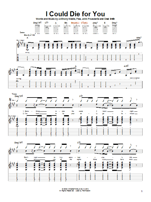 Tablature guitare I Could Die For You de Red Hot Chili Peppers - Tablature Guitare