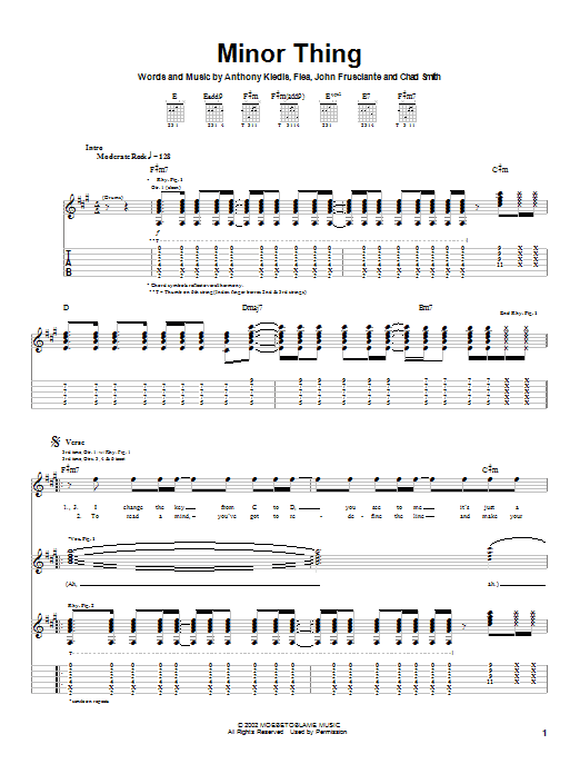 Tablature guitare Minor Thing de Red Hot Chili Peppers - Tablature Guitare