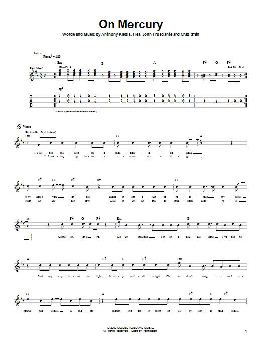 Tablature guitare On Mercury de Red Hot Chili Peppers - Tablature Guitare