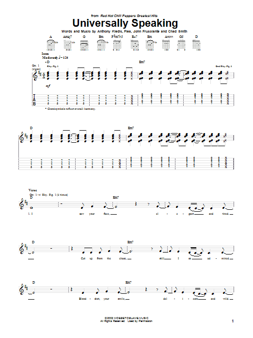 Tablature guitare Universally Speaking de Red Hot Chili Peppers - Tablature Guitare