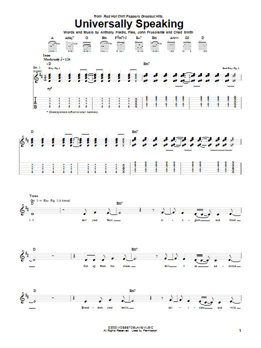 Tablature guitare Universally Speaking de Red Hot Chili Peppers - Tablature Guitare