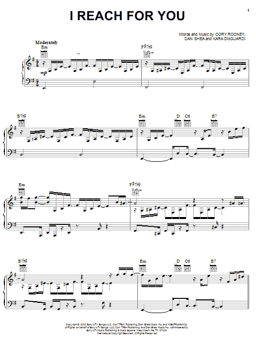 I Reach For You sheet music for voice, piano or guitar by Dan Shea
