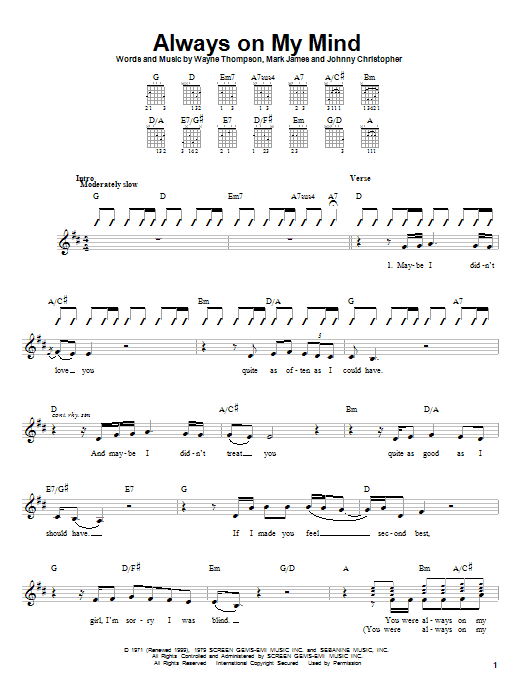 Tablature guitare Always On My Mind de Pet Shop Boys - Autre