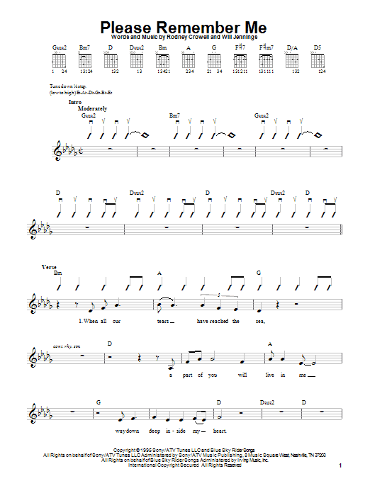 Tablature guitare Please Remember Me de Tim McGraw - Tablature guitare facile