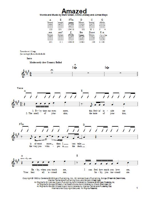 Tablature guitare Amazed de Lonestar - Tablature guitare facile