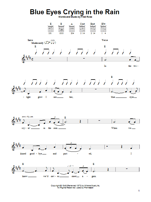 Tablature guitare Blue Eyes Crying In The Rain de Willie Nelson - Autre