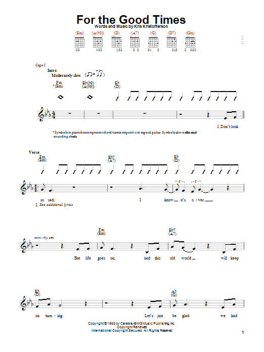 Tablature guitare For The Good Times de Ray Price - Autre
