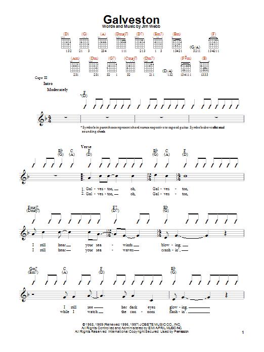 Tablature guitare Galveston de Glen Campbell - Autre