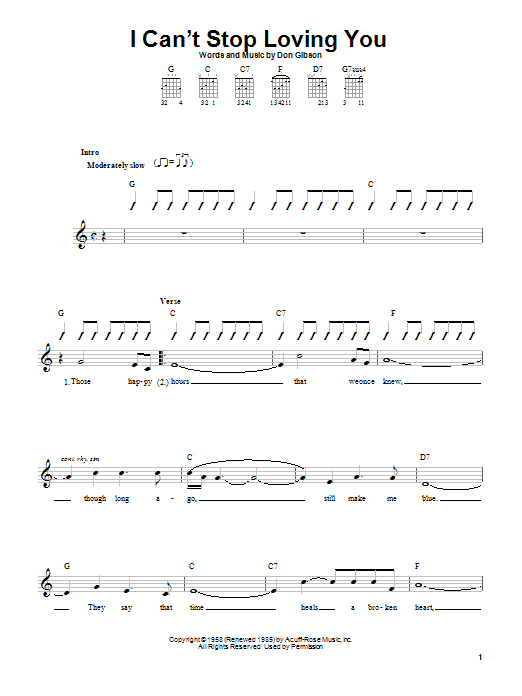 Tablature guitare I Can't Stop Loving You de Ray Charles - Autre