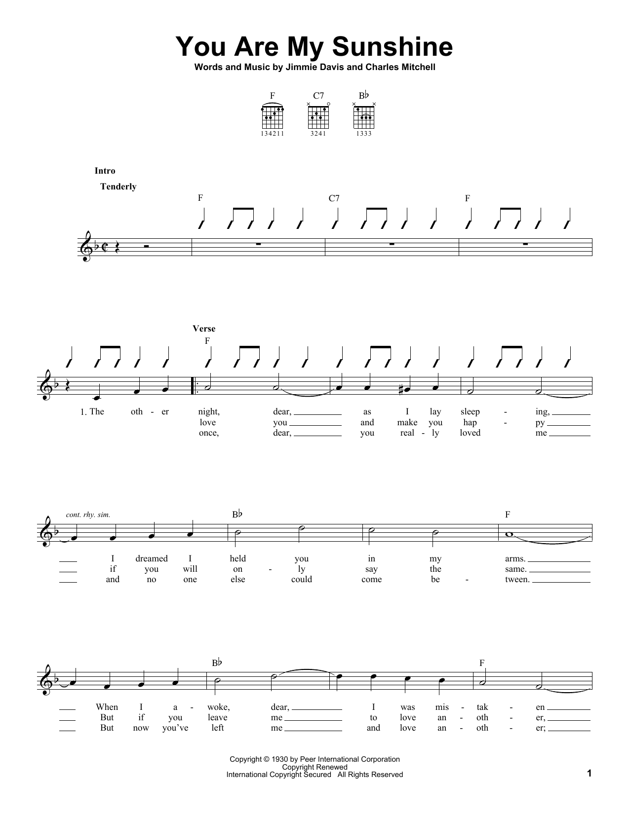 You Are My Sunshine sheet music for guitar solo (chords) by Jimmie Davis