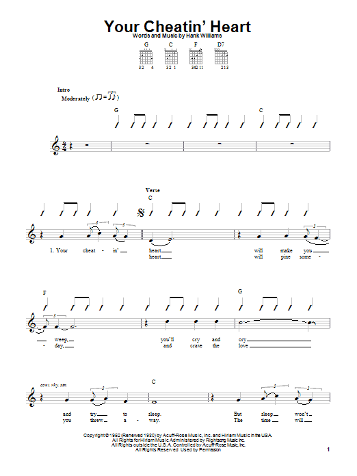 Tablature guitare Your Cheatin' Heart de Hank Williams - Tablature guitare facile