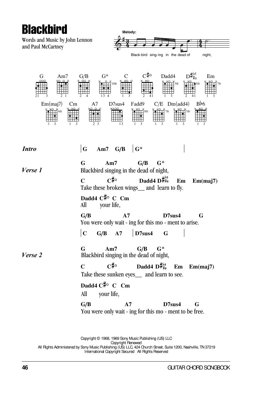 Blackbird : Sheet Music Direct