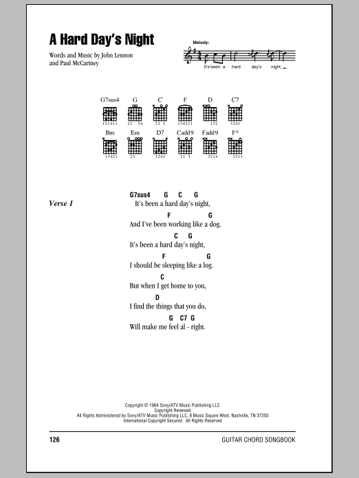 A Hard Day's Night sheet music for guitar solo (chords, lyrics, melody) by Paul McCartney