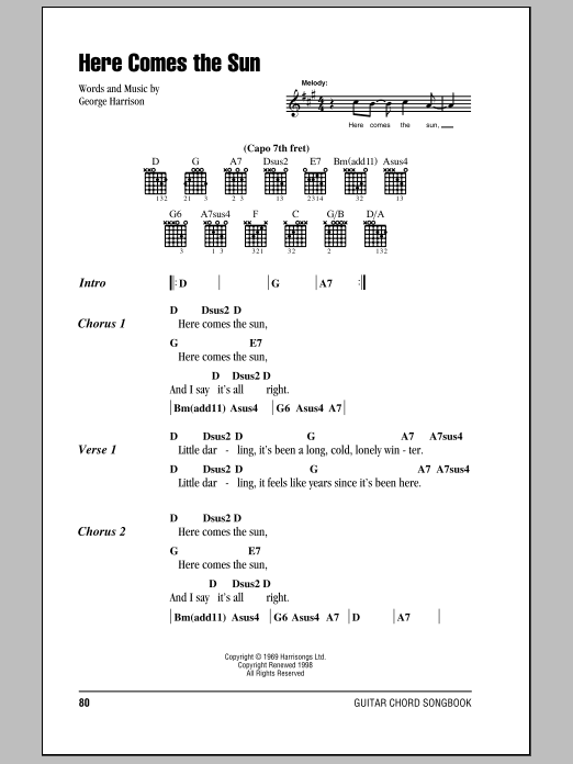 Guitar chords for here comes the sun