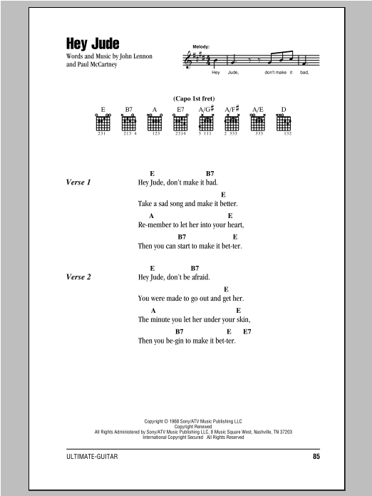 Hey Jude sheet music by The Beatles (Lyrics u0026 Chords u2013 78460)