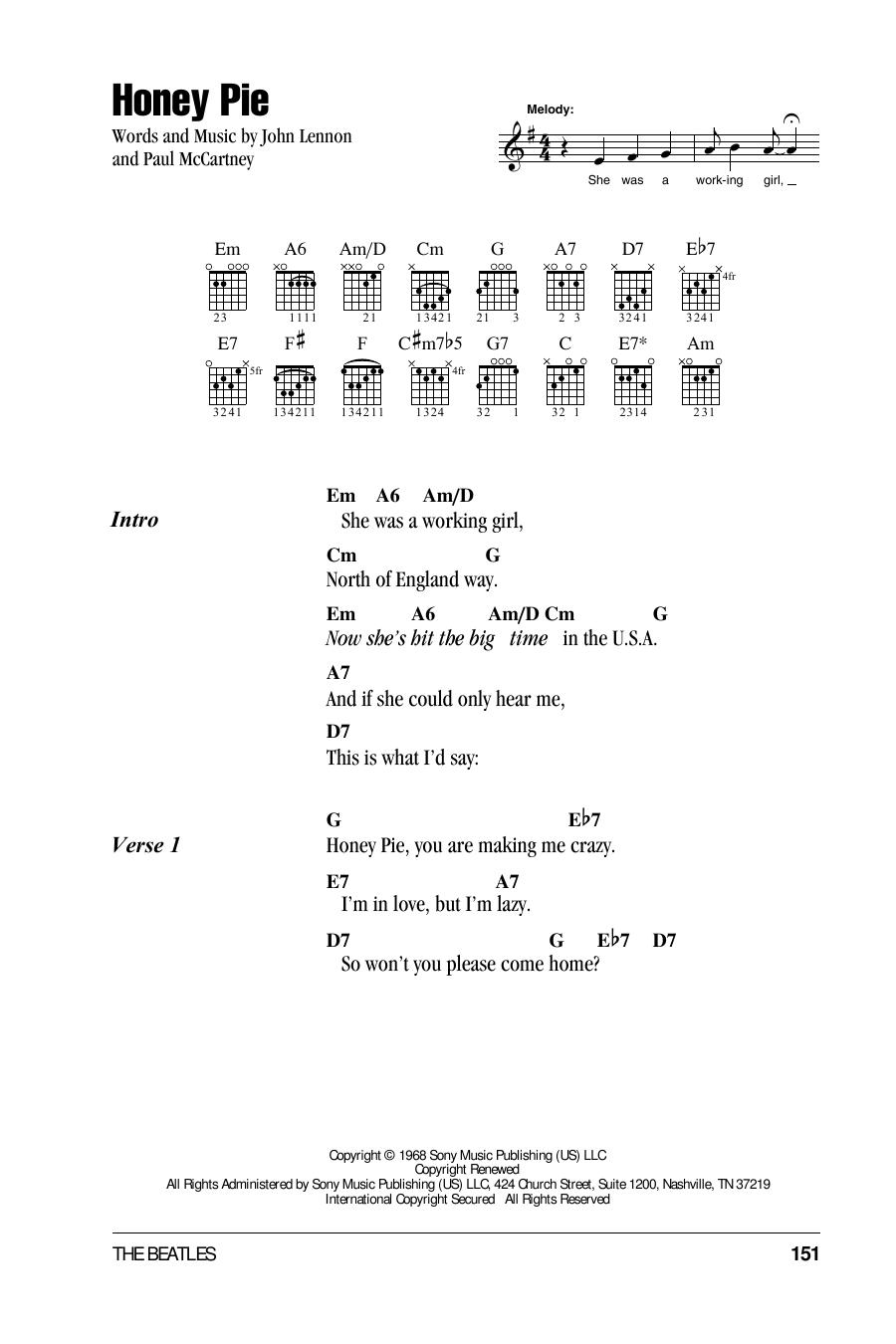 Guitar Instructor Honey Pie by The Beatles - Guitar Chords/Lyrics
