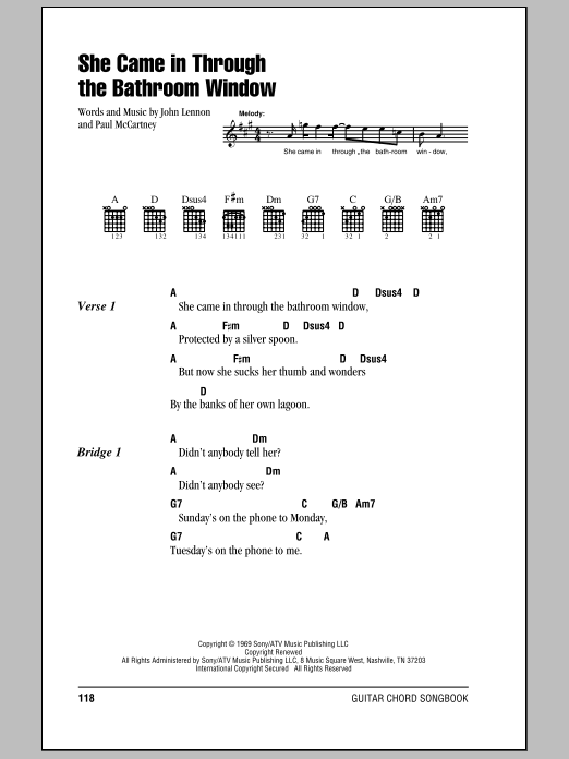 She came in through the bathroom window by the beatles guitar chords lyrics guitar instructor for She came in through the bathroom window beatles