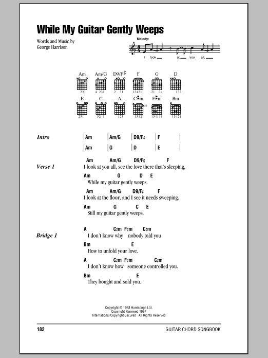 Sheet Music Digital Files To Print - Licensed George Harrison ...