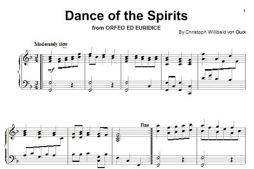 Partition piano Dance Of The Spirits de Christoph Willibald von Gluck - Piano Solo