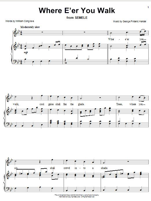 Partition piano Where E'er You Walk (Handel) de William Congreve - Piano Solo