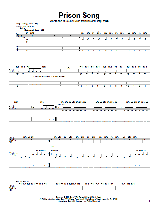 Tablature guitare Prison Song de System Of A Down - Tablature Basse