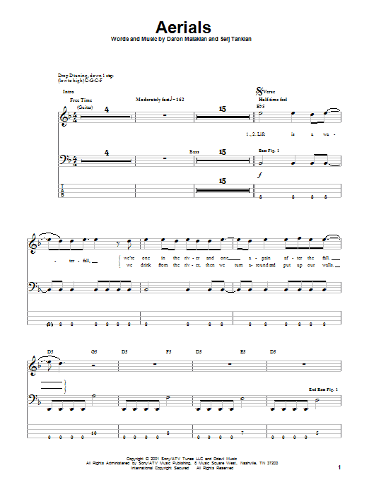 Tablature guitare Aerials de System Of A Down - Tablature Basse