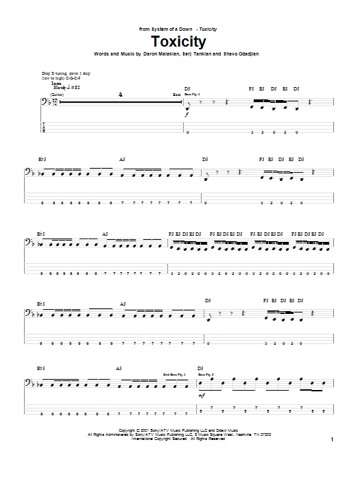 Tablature guitare Toxicity de System Of A Down - Tablature Basse