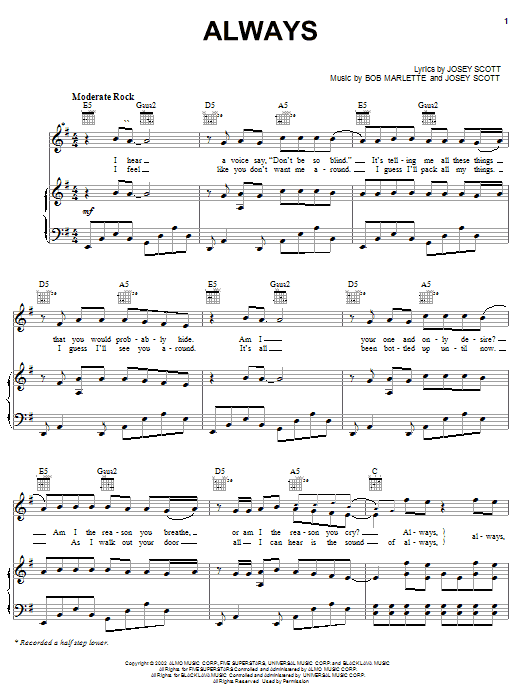 Always sheet music for voice, piano or guitar by Josey Scott