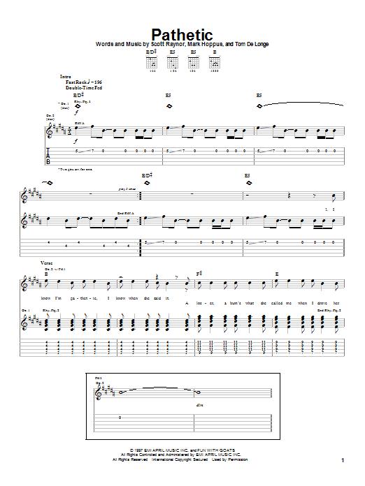 Tablature guitare Pathetic de Blink-182 - Tablature Guitare