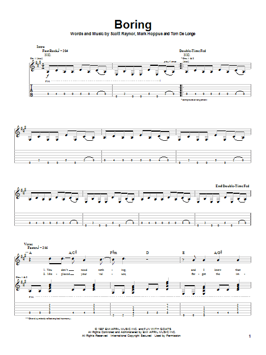 Tablature guitare Boring de Blink-182 - Tablature Guitare