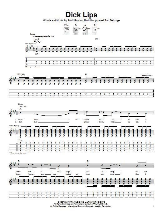 Tablature guitare Dick Lips de Blink-182 - Tablature Guitare