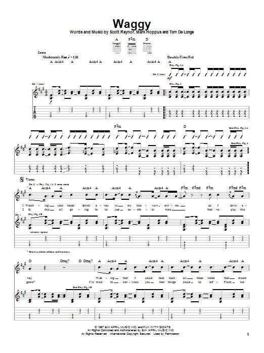 Tablature guitare Waggy de Blink-182 - Tablature Guitare