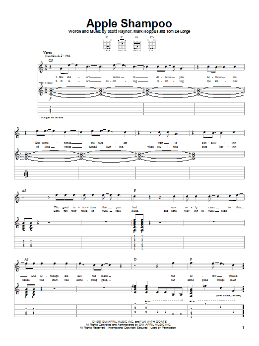 Tablature guitare Apple Shampoo de Blink-182 - Tablature Guitare