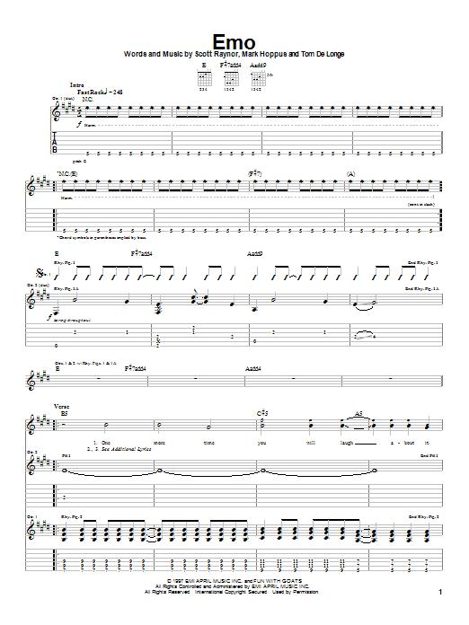 Tablature guitare Emo de Blink-182 - Tablature Guitare