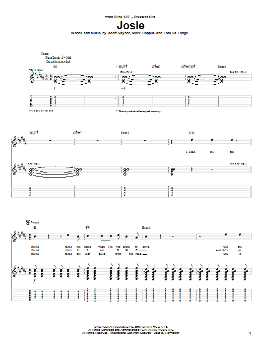 Tablature guitare Josie de Blink-182 - Tablature Guitare