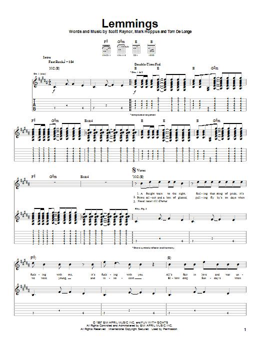 Tablature guitare Lemmings de Blink-182 - Tablature Guitare