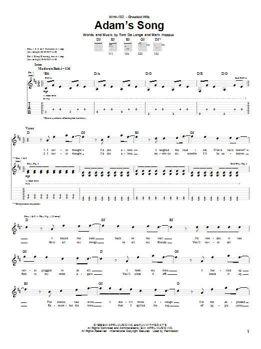 Tablature guitare Adam's Song de Blink-182 - Tablature Guitare